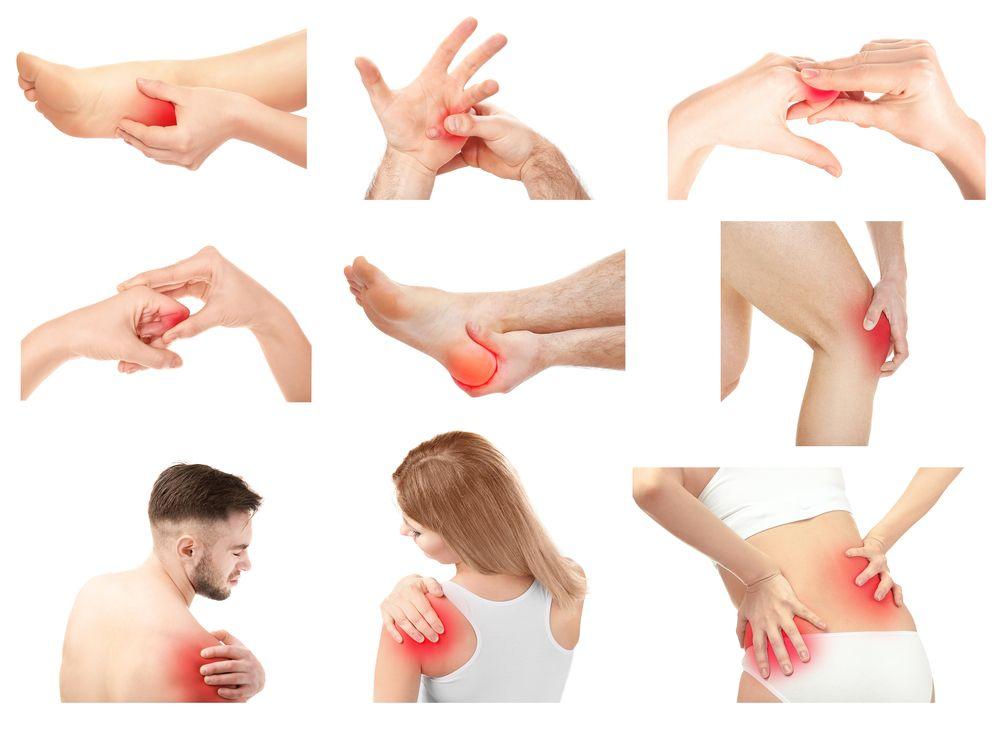 Kolaż z ludźmi cierpi od bólu w różnych częściach ciała